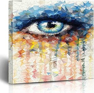 Onete Canvas Prints Geometric Stained Glass Style Human Eye Design Colorful Angular Polygonal Triangles Multicolor 18