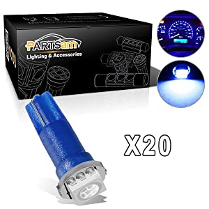 Partsam T5 74 LED Light Bulb 37 LED Bulbs Bright Instrument Panel Gauge Cluster Dashboard LED Light Bulbs Speedometer Lamp Lights 20Pack-Blue