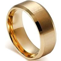 Flongo 8MM メンズ 指輪 シンプル ファション 結婚指輪 愛の証 幸せの鍵 軽量 ステンレス リング ブラック