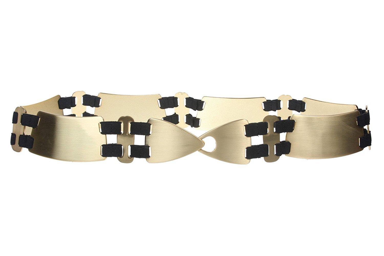 MONIQUE Women Hook Buckle Contour Comfort Stretchy Metal Linked Chain 2'' Belt ,Gold S/M - 33
