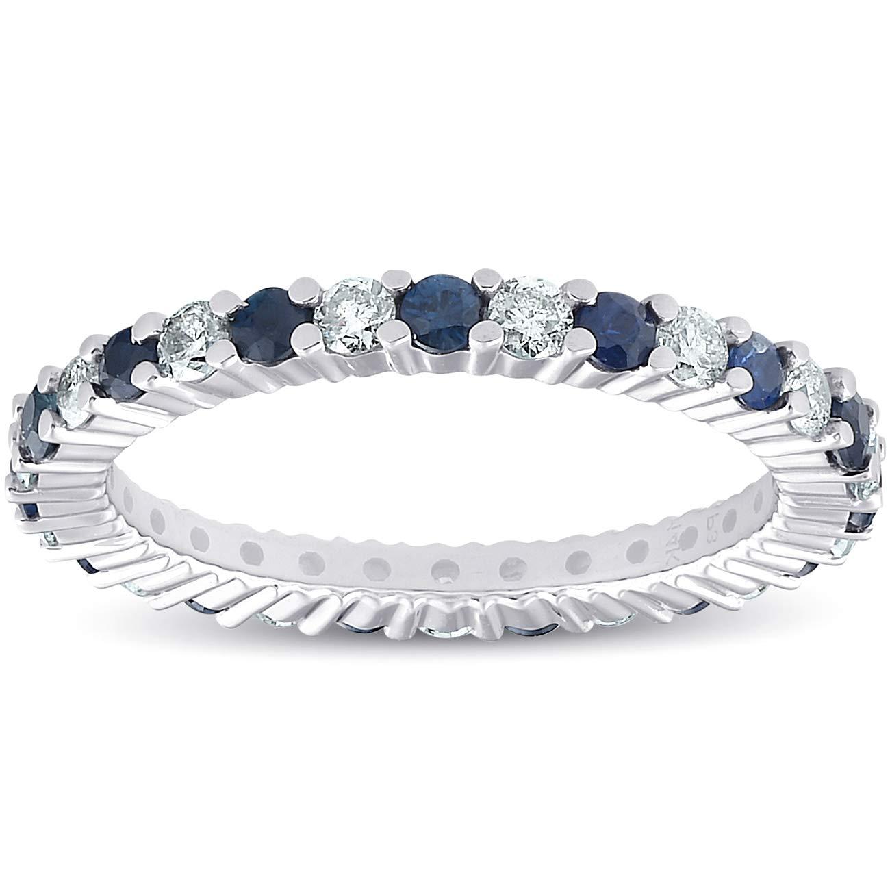 1 cttw Blue Sapphire Diamond Wedding Eternity Ring 14k White Gold - Size 6 by P3 POMPEII3