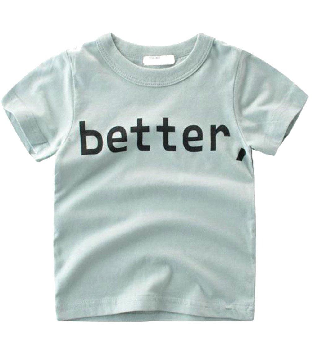 Pandapang Boys Loose Crewneck Letter Print Short Sleeve Top T-Shirts As Picture 2T
