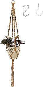 Macrame Plant Hangers Indoor Hanging Planter Basket Decorative Flower Pot Holder Jute Rope with 2 Hooks, Handmade Hanging Planters Set for Indoor Outdoor Boho Home Decor (1Pack)