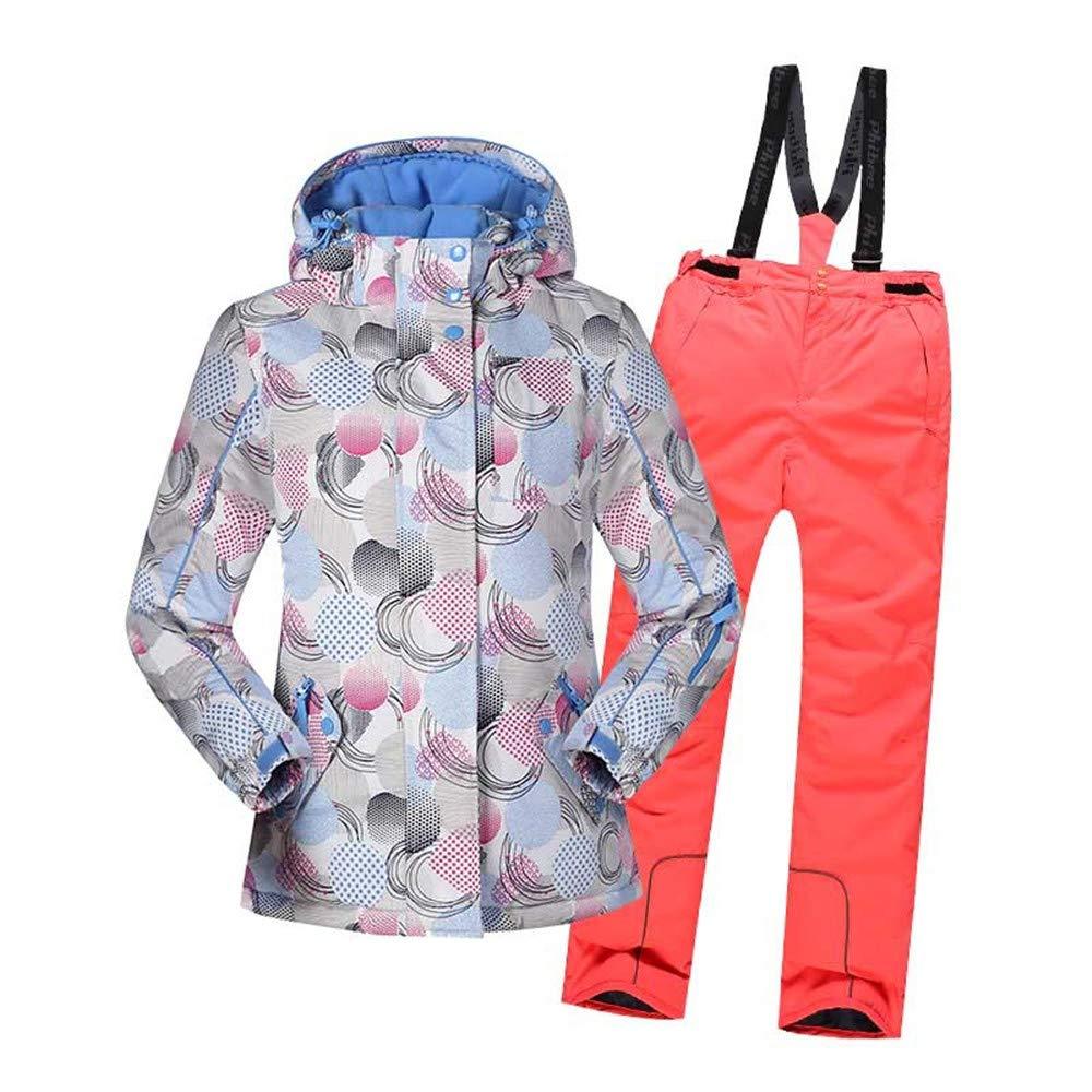 ソフトガールのスキースーツ、 女の子防風防水暖かいスノーシューズフード付きスキージャケットパンツ2個セット (色 : ライトピンク, サイズ : 164) ライトピンク