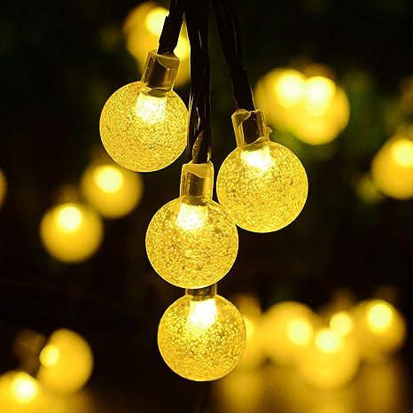 Kaiercat® al aire libre luces solares de cadena, luces de globo impermeable para el jardín, patio, casa, árbol de Navidad y decoraciones navideñas ...