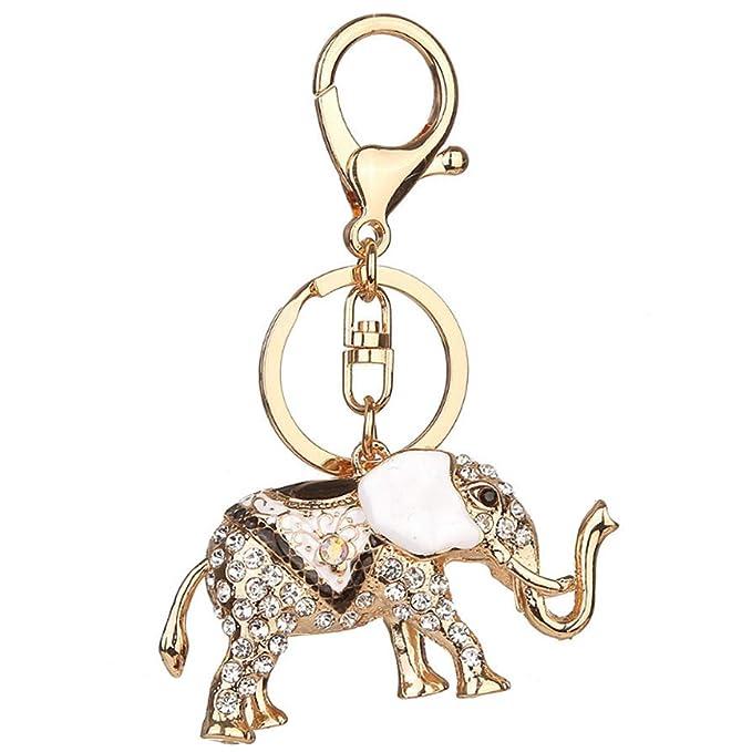 Fulision Popular creativo elefante llavero rhinestone ...