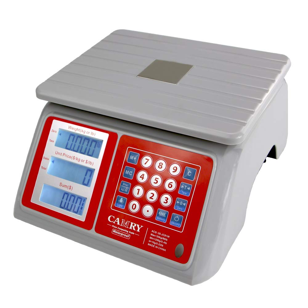 Electronic Price Computing Scale 66lb/30kg Waterproof, Digital Commercial Food Meat Counting Weighting Scale LCD with White Backlight, Rechargeable Battery Included, Not For Trade by CAMRY