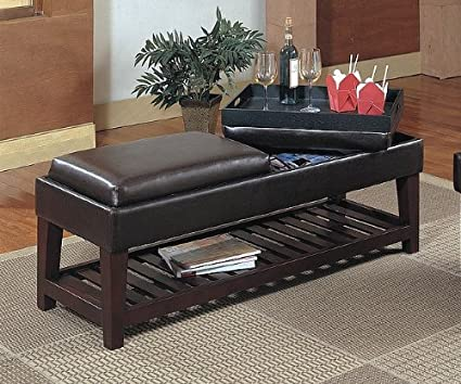 Amazon Com Black Ottoman Coffee Table Bench W Flip Top Seat To Tray