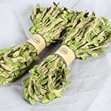 Natural Hemp Cord with Green Leaf Best Arts Crafts Gift Twine String for Wedding Decorative Twine for Gardening 393 inch each (2 PCS)