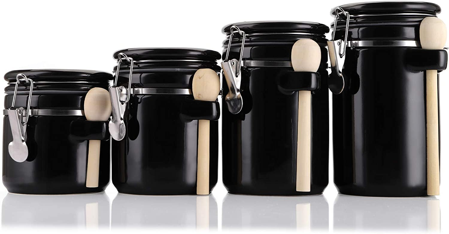 Foraineam 4-Piece Ceramic Canister Set Airtight Food Storage Container with Clamp Top Lid and Wooden Spoon, Black
