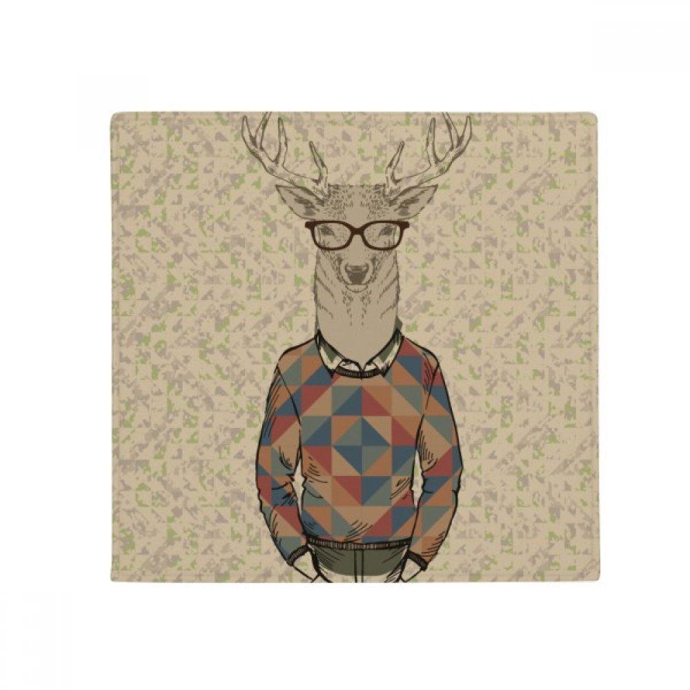 DIYthinker Glasses Deer Animal Artistic Effect Colourful Anti-Slip Floor Pet Mat Square Home Kitchen Door 80Cm Gift