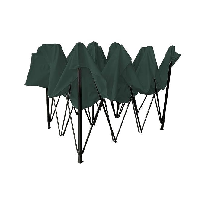 Rebecca Mobili Pabellón Cenador Plegable Verde Metal Poliéster Bolsa de Transporte Camping Festival Terraza - 3,1x4,5x3 m (A x AN x FON) - Art. RE6310