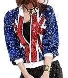 KLJR-Women Fashion Sparkle Sequin Long Sleeve Jacket Zipper Jacket Royalblue OS