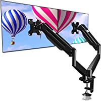 Suptek Dual Monitor Mount Stand-Height Adjustable Gas Spring Monitor Arm Desk Mount for 2 Computer Screens 17 to 27…