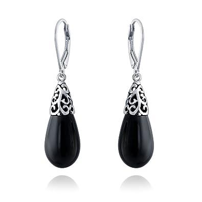 e3d6f7d4c Bali Style Gemstone Black Onyx Elongated Teardrop Filigree Leverback Dangle  Earrings For Women Sterling Silver: Amazon.co.uk: Jewellery