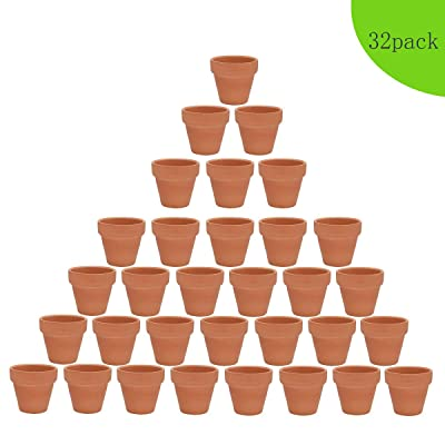 32pcs Clay Pots, 2'' Terracotta Pot Clay Ceramic Pottery Planter, Cactus Flower Terra Cotta Pots, Succulent Nursery Pots, with Drainage Hole, for Indoor/Outdoor Plants, Crafts: Garden & Outdoor
