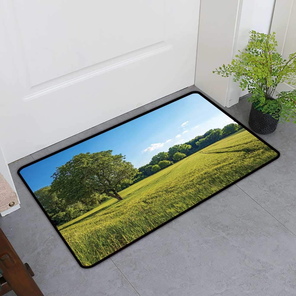 TableCovers&Home Low-Profile Mat, Forest Indoor Out-Imdoor Rugs for Kids Room, Tree Field and Fresh Green Meadow with Open Blue Sky Uplifting Day in Nature Picture (Green Blue, H36 x W60)