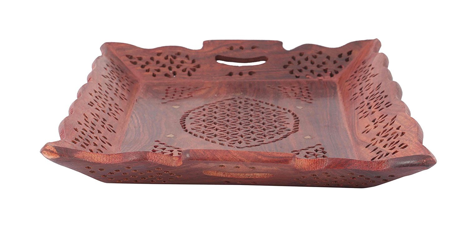 IndiaBigShop Hand Crafted Decorative Rosewood Snack and Coffee Serving Tray with Brass Inlay Serveware 14.5 Inch