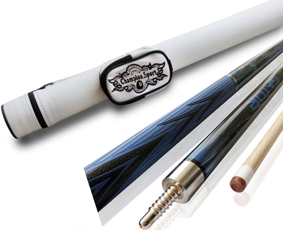 Champion azul araña arce pool cue stick (18 – 510), color blanco o negro taco de billar caso, guante de billar, funda blanca para taco de pool, Azul: Amazon.es: Deportes y aire libre