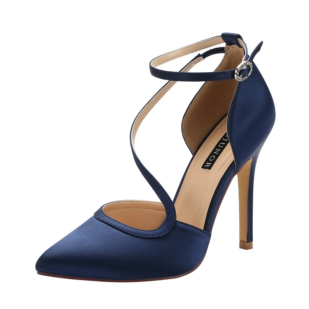 ERIJUNOR E1706H Women Evening Wedding Shoes Pointed Toe High Heel Prom Satin Pumps Navy Size 8