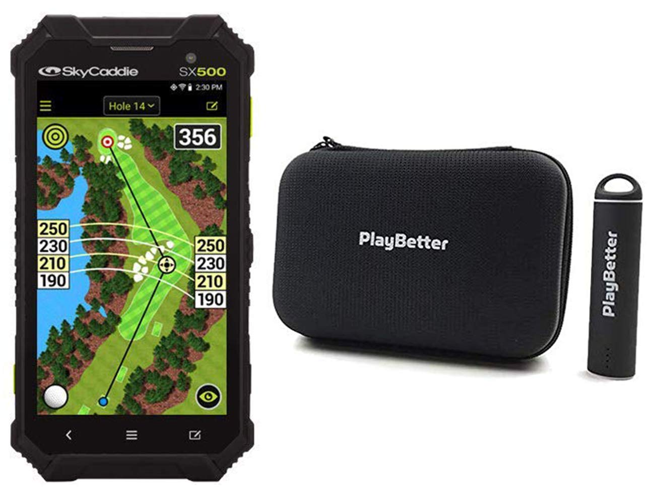 PlayBetter SkyCaddie SX500 Handheld Golf GPS Bundle Portable Charger & Hard Case | 5'' Touchscreen Display by PlayBetter