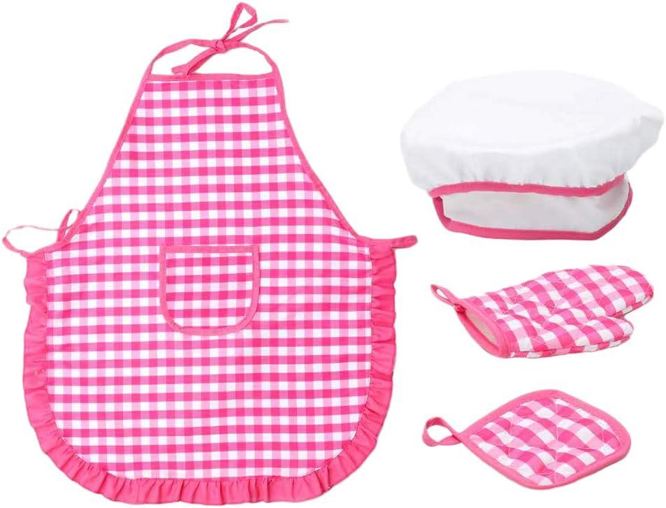 Amuzocity Juego de Delantal Y Gorro de Cocinero para Ni/ños Disfraz de Vestir Disfraz Cocinar Hornear Cocina