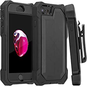 HONOVI iPhone 6/ 6s/ 7/8 case, Belt-Clip Protective Heavy Duty Kickstand Cover [Shockproof] Cover Compatible for iPhone 6/ 6s/ 7/8 (Black)