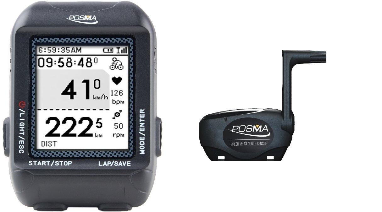 POSMA D3 GPS ワイヤレスサイクリング車コンピューター ナビゲーション付き速度計、オドメーター、6軸eコンパス付き、ANT+ 接続 GPXファイルのSTRAVA や MapMyRideへのインストールをサポートしています。 (BHR20 心拍計と BCB20 速度/ケーデンス センサーの組み合わせが可能です。)   B072MH5Q4J