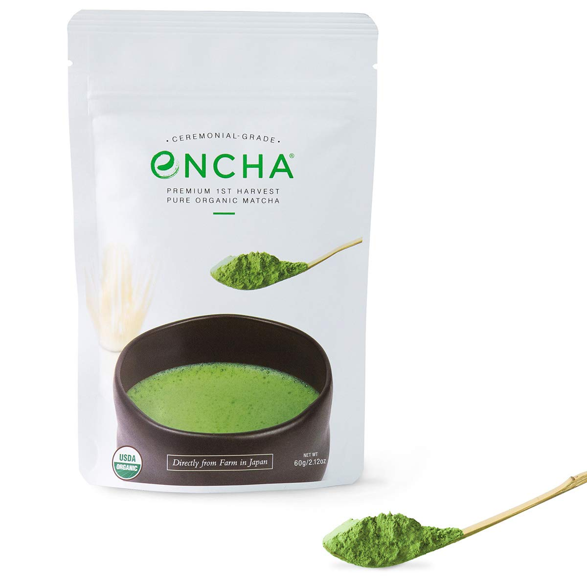 Encha Ceremonial Organic Matcha (USDA Organic Certificate and Antioxidant Content Listed, Premium First Harvest Directly from Farm in Uji, Japan, 60g/2.12oz in Resealable Pouch) by Encha