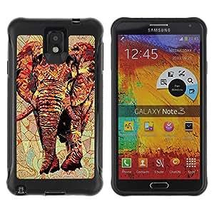 LASTONE PHONE CASE / Suave Silicona Caso Carcasa de Caucho Funda para Samsung Note 3 / Art Africa Red Majestic Jungle