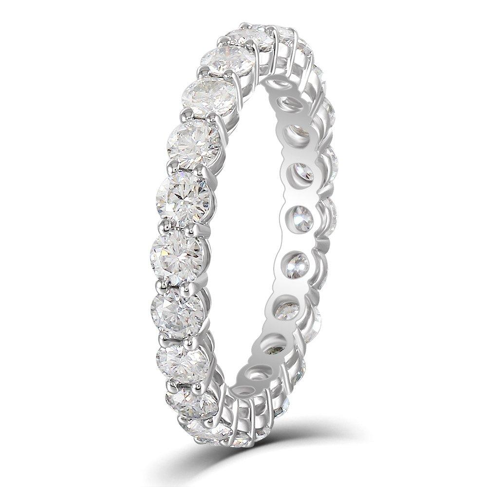 DovEggs 10K White Gold 1.6CTW 2.5mm H Color Moissanite Eternity Engagement Ring Wedding Band for Women (6.5)