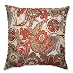 Pillow Perfect Crazy Rosewood Floor Pillow, 24.5-Inch, Red