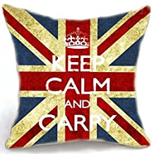 "Homestia Decorative Pillow Case Cushion Cover UK Union Jack Flag Keep Calm and Carry 18"""