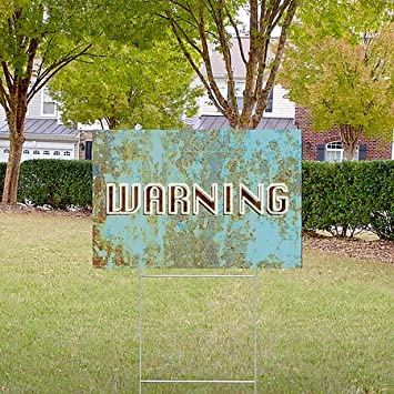 Warning 18x12 5-Pack CGSignLab Ghost Aged Blue Double-Sided Weather-Resistant Yard Sign