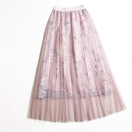 QZBTU Faldas Mujer Falda Larga De Encaje Floral Mujer Rosa Cintura ...