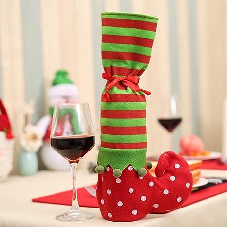 Para mesa de Navidad Pierna Cubre Silla Patas cubre botas de elfo comedor decoración vino cubierta