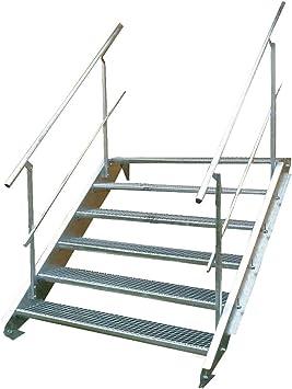 Escalera de acero industrial, escalera exterior, 6 peldaños, 150 cm de ancho, altura de planta variable 90 – 120 cm, galvanizada con barandilla a ambos lados: Amazon.es: Bricolaje y herramientas