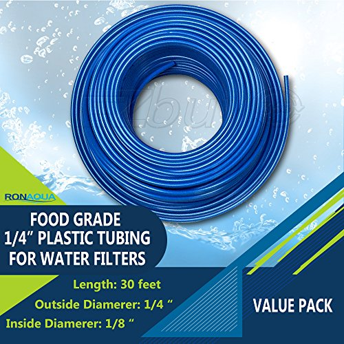 Food Grade 1/4 Inch Plastic Tubing for RO Water Filter System, Aquariums, Refrigerators, ECT (30 Feet, Blue) Food Grade Polyethylene