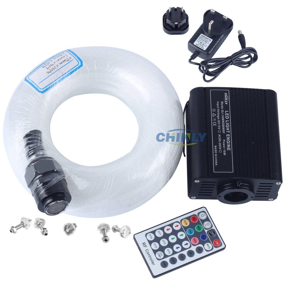 CHINLY LED En Plastique Fiber Optique Star Plafonniers Kit 200 pcs 0.75mm 6.5ft 2 m fiber optique + 16 W RGBW Lumière Moteur + 28 Clé RF À Distance