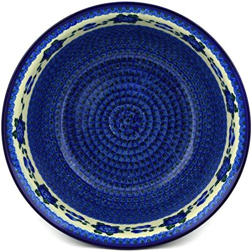 Polish Pottery Bowl 12-inch Blue Poppies by Polmedia Polish Pottery (Image #2)