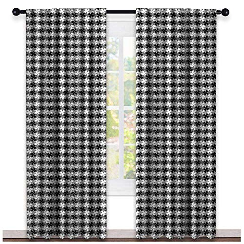 hengshu Black and Grey, Curtains Darkening, Grid of Pinwheel Style Shapes and Circles Abstract Geometric Pattern, Curtains for Bathroom, W72 x L108 Inch Black Grey White