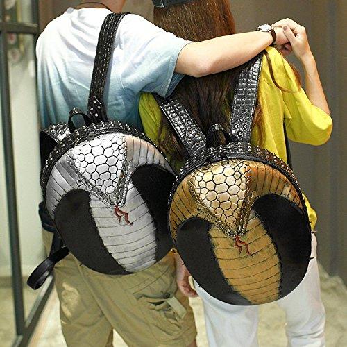 viaje Hombres de 3D bolsa de y 35L de mujeres 20 remaches computadora patrón de realista portátil alta Gold calidad la PU mochila mochila serpiente wwxfq