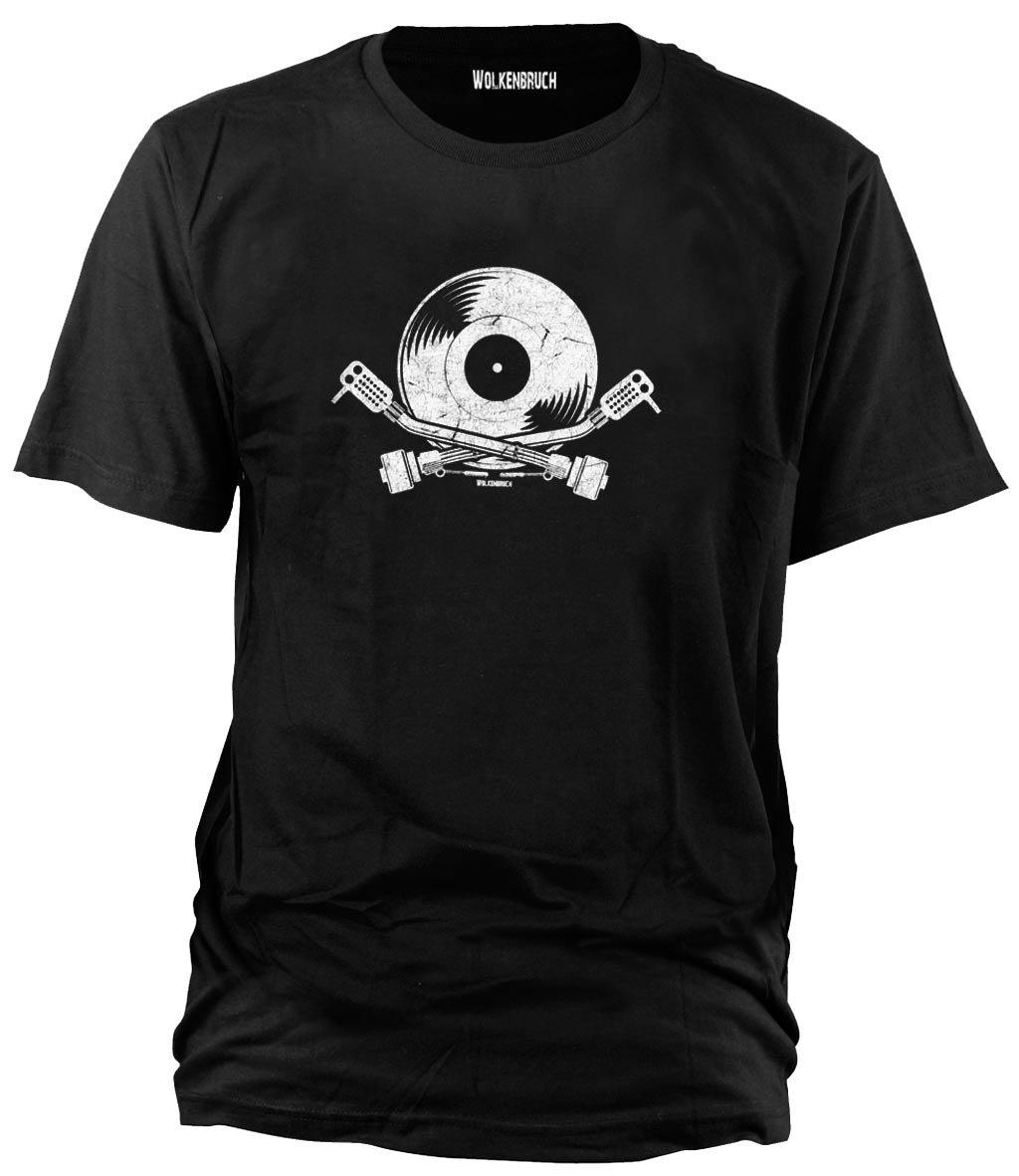 Wolkenbruch Herren T-Shirt Schallplatte DJ Plattenspieler Vintage Style Vers.  Farben Gr. S bis XXL: Amazon.de: Bekleidung