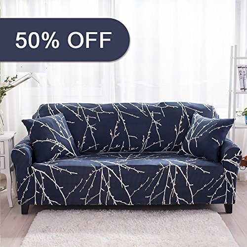 Lamberia Spandex Fabric Stretch Sofa Slipcover Couch Covers for 4 Cushion Couch With One Pillow Case 90