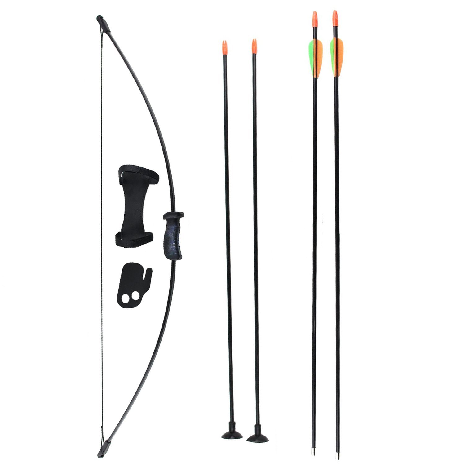 SinoArt Long Bow and Arrow Set for Children Kids Youth Outdoor Sports Game Target Toy Gift Bow Set with 4 Arrows 16 LBs (Black) by SinoArt