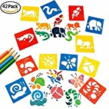 Painting Stencil Templates, Magnolora 42 Pcs Plastic Animal Drawing Stencil Templates for Kids Crafts, Washable Templates for School Projects