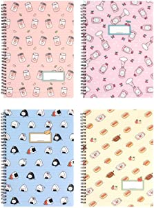 Convenience Store Foods School Ruled Spiral PP Notebook Stationery 1PC (4 Colors Availbable) (Peach)