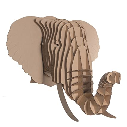 Amazon cardboard safari recycled cardboard animal taxidermy cardboard safari recycled cardboard animal taxidermy elephant trophy head eyan brown large maxwellsz