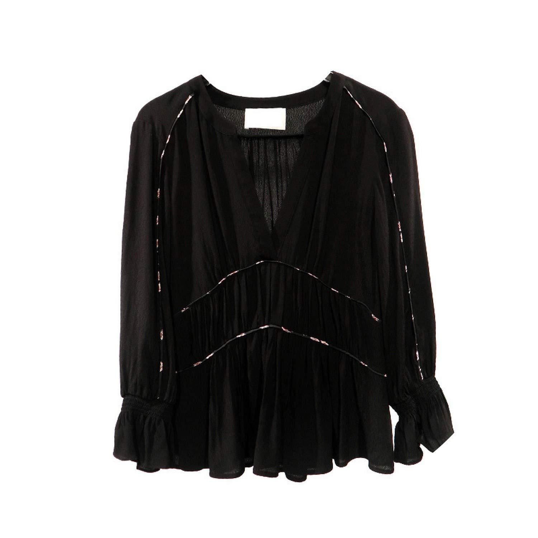Black Yeenvan Shirt 2019 Spring New Big Lace Top Shirt Pleated Shirt