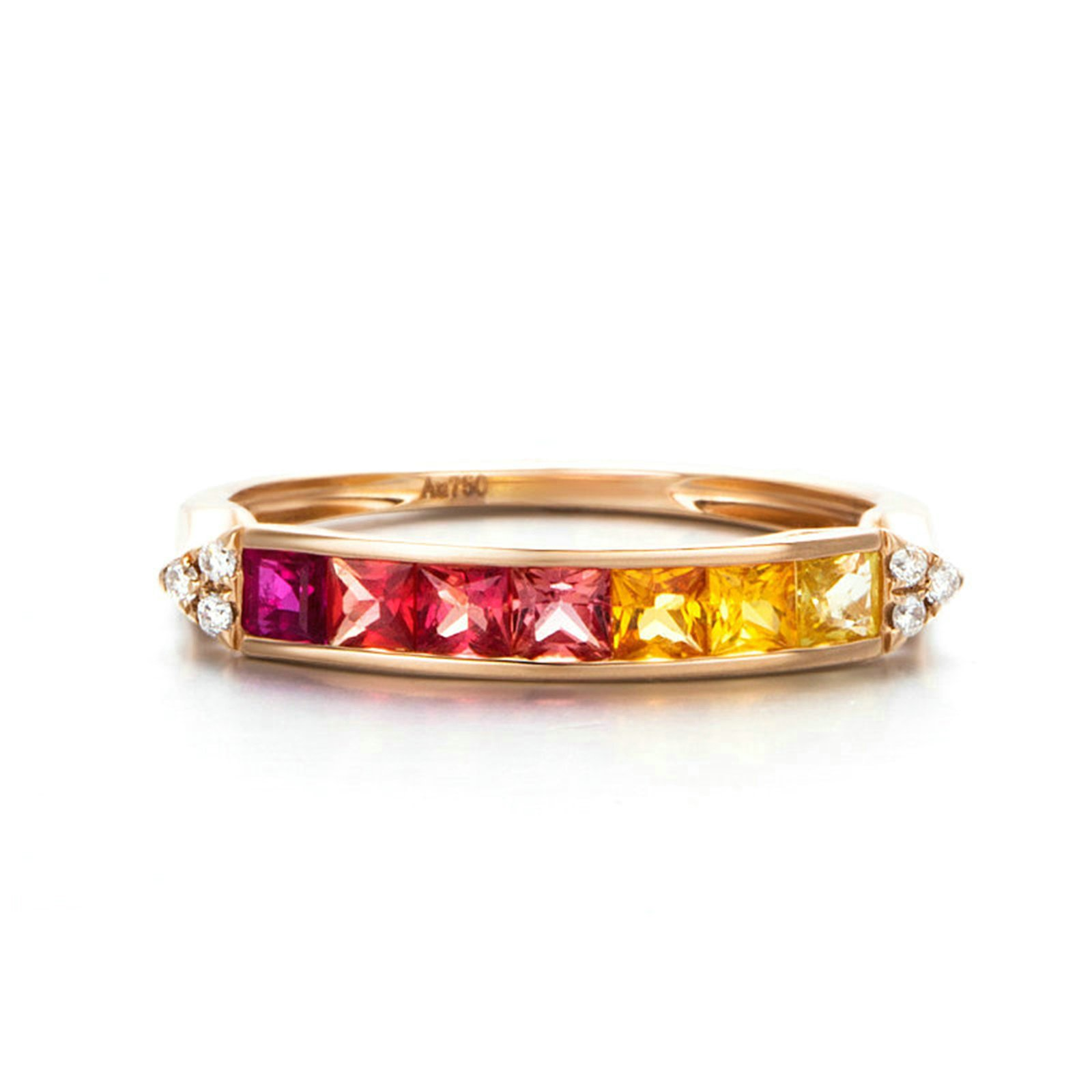 18K Gold Ring(Au750),0.9Ct Square Cut Colorful Gemstone Ring Wedding Engagement Ring for Women Bride Size 7